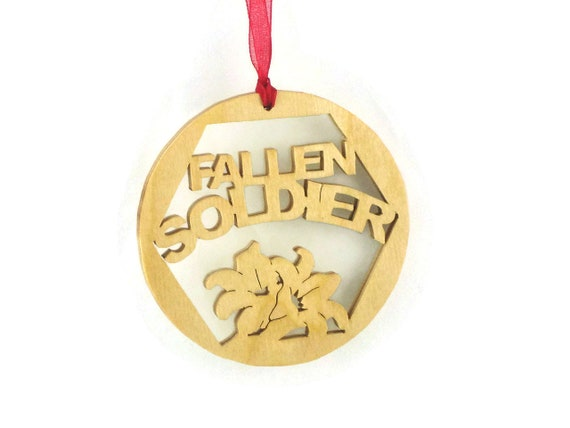 Fallen Soldier Christmas Ornament With Flowers Handmade From Birch Plywood, Military Ornament, Servicemen Christmas Ornament