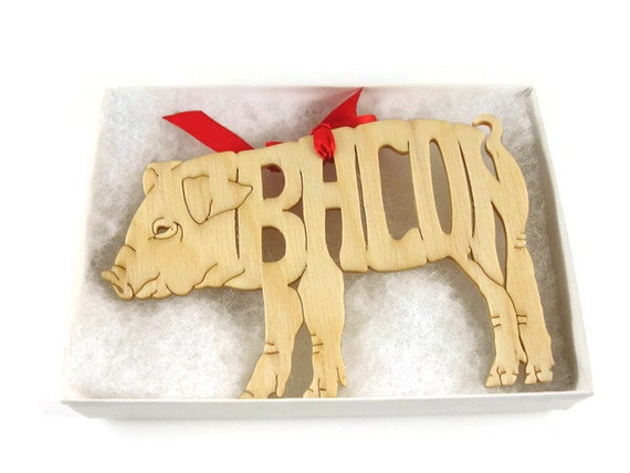 Bacon Pig Christmas Tree Ornament Handmade From Birch Wood ...
