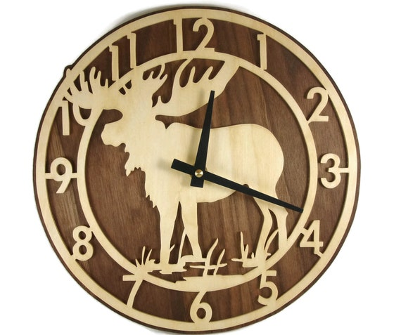 Moose Wall Hanging Clock With Quartz Movement Handmade From Birch And Walnut By KevsKrafts
