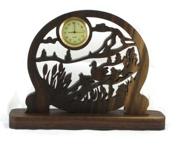 Ducks And Ducklings Swimming Scene Mini Desk Clock Handmade From Walnut Wood