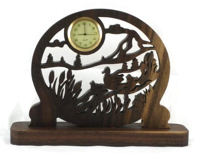 Ducks And Ducklings Swimming Scene Mini Desk Clock Handmade From Walnut Wood