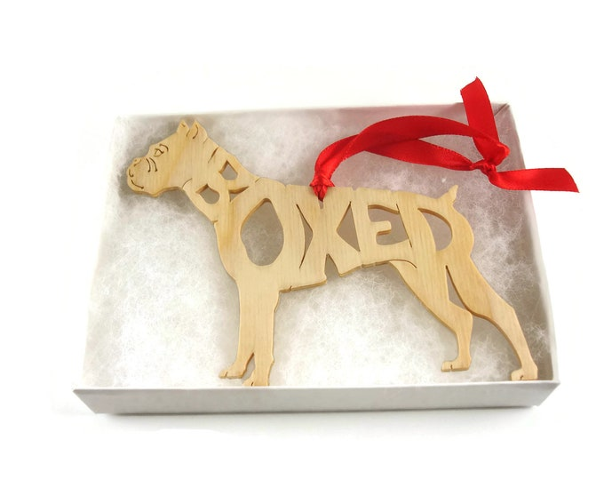 Boxer Dog With Cropped Ears Christmas Ornament Handmade from Birch Wood By KevsKrafts BN-6