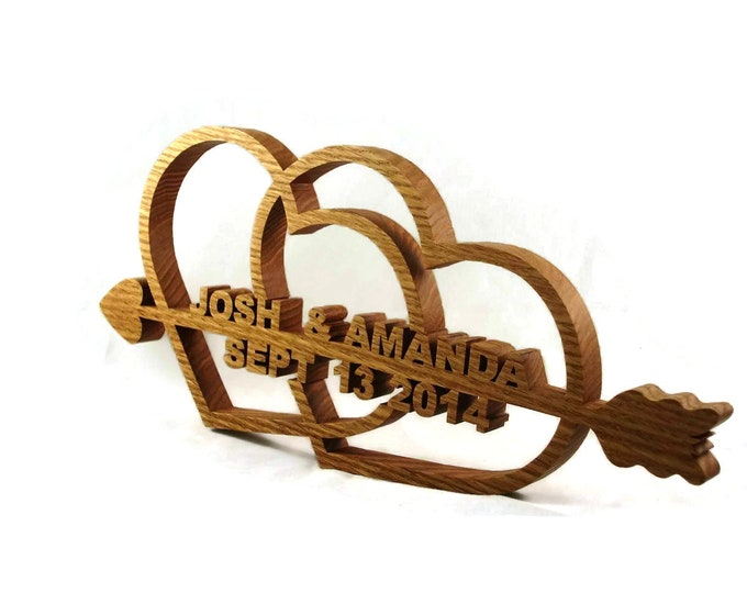 Unique Handcrafted Personalized  Wedding / Anniversary Hearts Names and Date Oak Wood