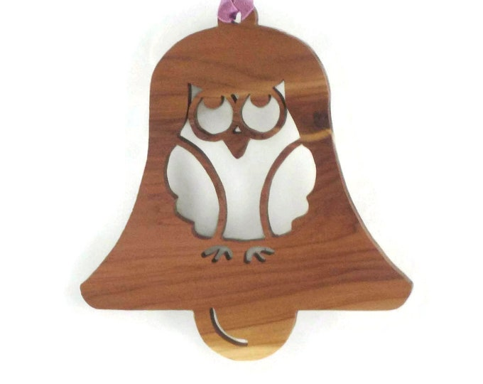 Owl Christmas Ornament Handcrafted From Cedar Wood