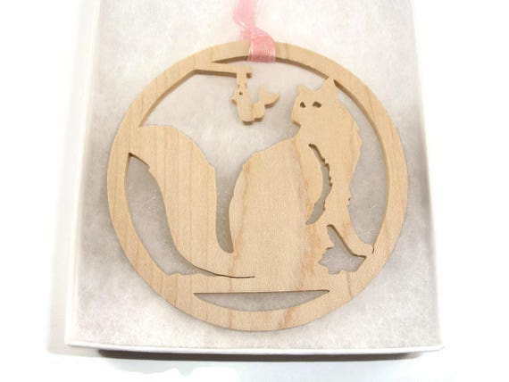 Cat Playing With Toy Bird Christmas Ornament Handmade From Maple Wood By KevsKrafts