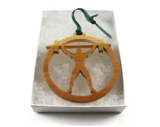 Body Builder Weight Lifting Christmas Ornament Handmade By KevsKrafts, BN-001-2, Fitness, Body Building ,