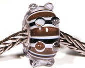 Lampwork by Anne Meiborg - Artisan charm bead small core - BHB glass bead - Caterpillar glitter - 10552