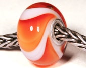 Lampwork by Anne Meiborg - Artisan charm bead small core - BHB glass bead -Orange Armadillo - 10610