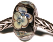 Lampwork by Anne Meiborg - Artisan charm bead small core - BHB glass bead - Black Blue Green Flowers - 11297