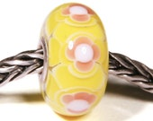 Lampwork by Anne Meiborg - Artisan charm bead small core - BHB glass bead - Yellow Pink - 10720