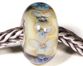 Lampwork by Anne Meiborg - Artisan charm bead small core - BHB glass bead - Green Blue - 10639