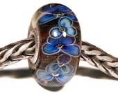 Lampwork by Anne Meiborg - Artisan charm bead small core - BHB glass bead - Brown Blue flowers - 11224