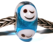 Lampwork by Anne Meiborg - Artisan charm bead small core - BHB glass bead - Blue smiley - 11292