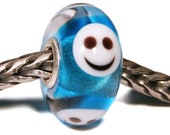 Lampwork by Anne Meiborg - Artisan charm bead small core - BHB glass bead - Blue smiley - 11293