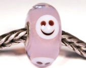 Lampwork by Anne Meiborg - Artisan charm bead small core - BHB glass bead - Pink smiley - 10828