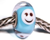 Lampwork by Anne Meiborg - Artisan charm bead small core - BHB glass bead - Turqoise smiley - 10827
