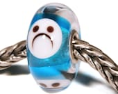 Lampwork by Anne Meiborg - Artisan charm bead small core - BHB glass bead - Blue smiley - 11295