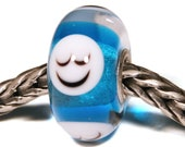 Lampwork by Anne Meiborg - Artisan charm bead small core - BHB glass bead - Blue smiley - 11294