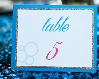 Electric Blue and Glitter Gold Table Numbers