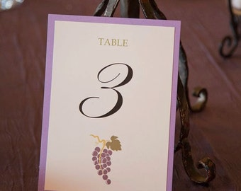 Modern Single Matted Wine Vineyard Wedding Table Numbers