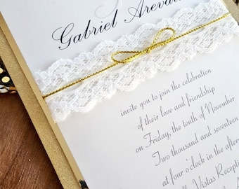 Simple Romance in Glittery Gold and Lace Layered Wedding Invitation