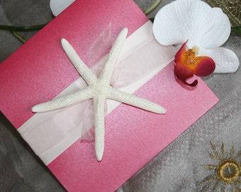 Jamaica Fizz Starfish Pocketfold Wedding Invitation