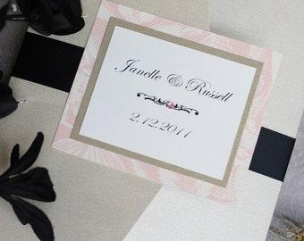 Princess Pink and Black Tie Pocketfold Wedding Invitations