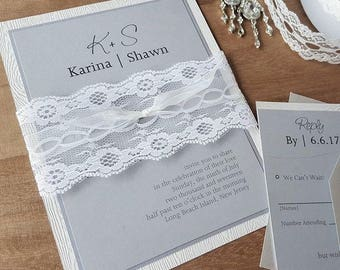 Romantic Wood Grained Lacey Grey Invitation Suite
