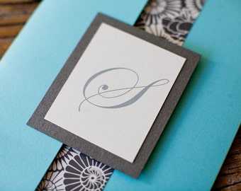 Cosmopolitan CaliTurquoise and Grey Pocketfold Wedding Invitation