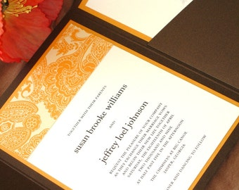 Lux Dubai Sunset Orange and Chocolate Brown Pocketfold Wedding Invitation