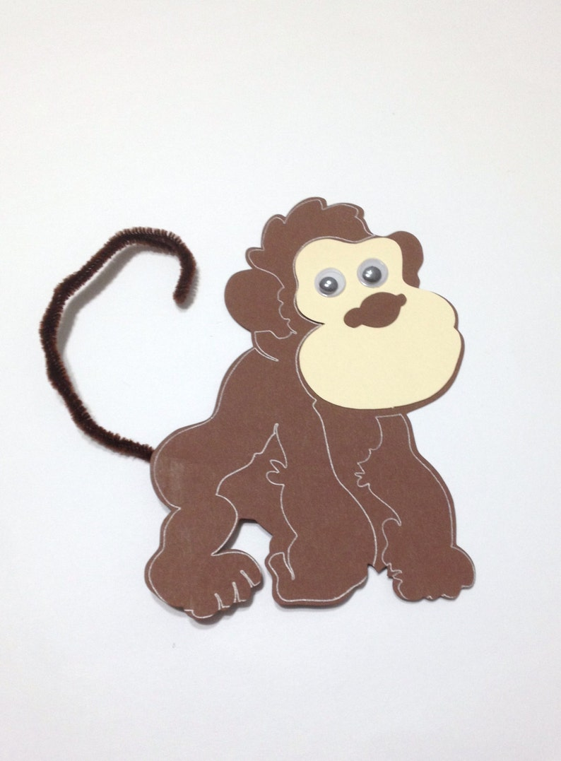 Monkey Zoo Animal Craft Kit For Kids Birthday Party Favor Decoration Arts And Crafts Stocking Stuffer Or Scrapbooking