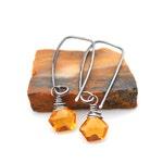 Madeira Citrine Earrings, Sleek Rectangle Threaders, Hand Forged Sterling Silver Gemstone Earrings, Golden Citrine Polygon Dangles, For Her