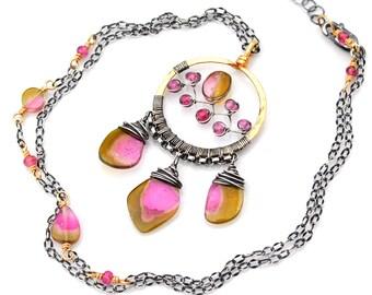 Boho Dreamcatcher Necklace, Mixed Metal Watermelon Tourmaline Pendant, Pink & Yellow Green Tourmaline Slice Necklace, Artisan Dreamcatcher