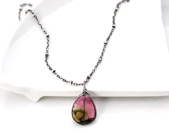 Watermelon Tourmaline Necklace, Luxe Natural Pink Watermelon Tourmaline Slice Pendant, Oxidized Silver Gemstone Necklace,  Gift For Her