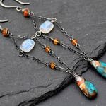 Long Turquoise Earrings, Boho Luxe Rainbow Moonstone, Fire Opal & Genuine Turquoise Dangle Earrings, Long Colorful Oyster Turquoise Dangles