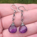 CUSTOM ORDER for Tara ONLY - Vibrant Purple Amethyst Dangle Earrings in Oxidized Sterling Silver, Luxe Natural Amethyst Gemstone Jewelry
