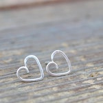 Small Silver Hearts, Heart Stud Earrings, Petite Sterling Silver Heart Studs, Minimalist Earrings, Jewelry Gift For Her, Valentines Day