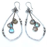 Boho Labradorite Earrings, Big Hammered Oxidized Silver Leaf Dangles, Flashy Blue & Green Labradorite Gems, Made to Order in Silver or Gold