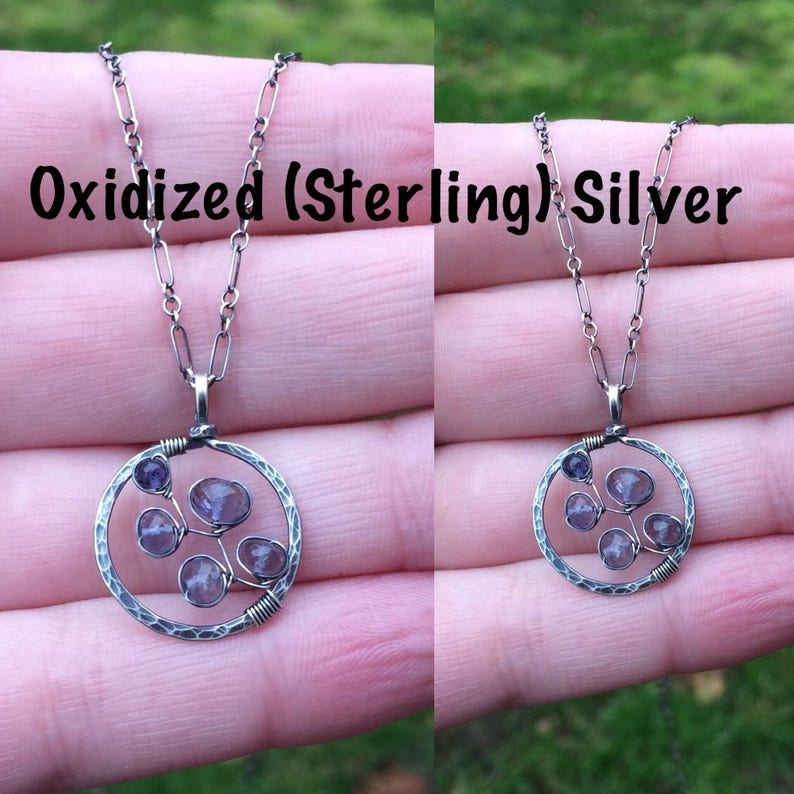 As Seen On Law /& Order: SVU Gift For Her Bluebonnet Necklace Artisan Iolite Gemstone Necklace Hammered Gold Circle Pendant