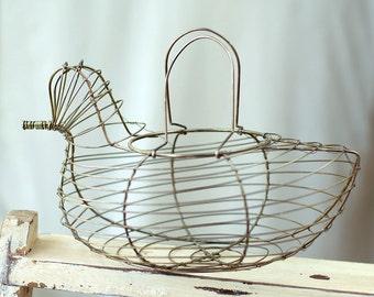 Egg Basket Wire Chicken Vintage