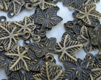 100pcs-Drop, Antique Bronze , Stamped, Leaf.