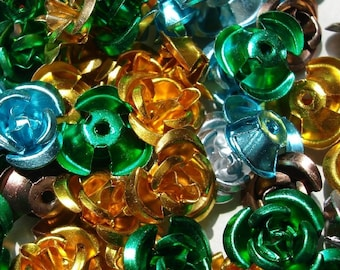 Aluminum Flower Beads,Mix Color .