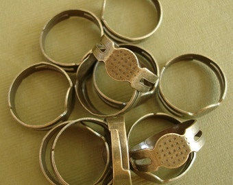 10pcs-  Ring Base,Antique Bronze, Adjustable.
