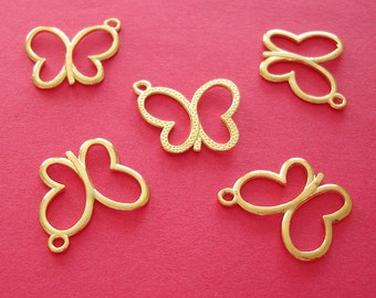 15pcs- Gold Plated  Butterfly Charm, Pendant.