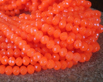 15inch-Orange Quartz Glass Faceted Rondelle Beads...8mmx6mm.