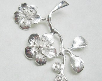 2 Pcs - Silver Plated  Cherry Blossom Branch Pendant .