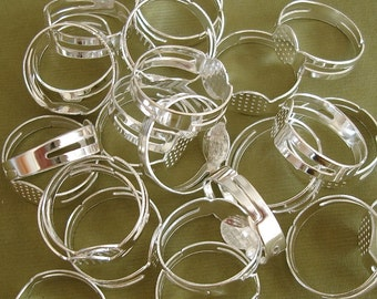 20pcs-  Ring Base,Silver Bright, Adjustable.