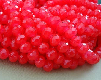 15inch-Red Quartz Glass Faceted Rondelle Beads...8mmx6mm.