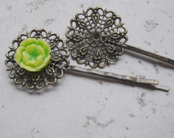 16pcs-Bobby Pins Filigree Antique Bronze With Round Pads .