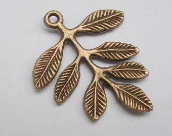 20pcs-Leaf Branch Antique Bronze Pendant.
